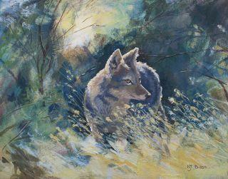 """Colorful Wildlife Art, Coyote Painting """"Coyote and Sage"""" by Colorado Artist Nancee Jean Busse, Painter of the American West"""