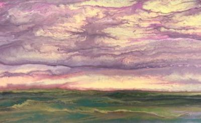 "Abstract Landscape Painting,Sunset ,Contemporary Landscape ""The Sun Rose Softly II"" by Colorado Contemporary Artist Kimberly Conrad"