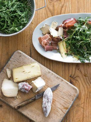 Greens with Artisanal Cheeses and Charcuterie