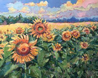 Contemporary Impressionistic Landscape and Floral Palette Knife Oil Painting by Sheri Jones