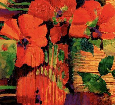"""Poppies, Floral Fine Art Print """"Tropical Tapestry"""" by Carol Nelson Fine Art"""