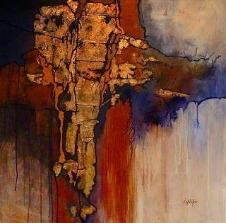 "Geologic Abstract Mixed Media Painting ""New World"" by Colorado Artist Carol Nelson"