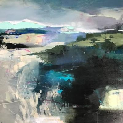 "Abstract Landscape Painting, Contemporary Art,Mixed Media ""Verdant Promise"" by Intuitive Artist Joan Fullerton"