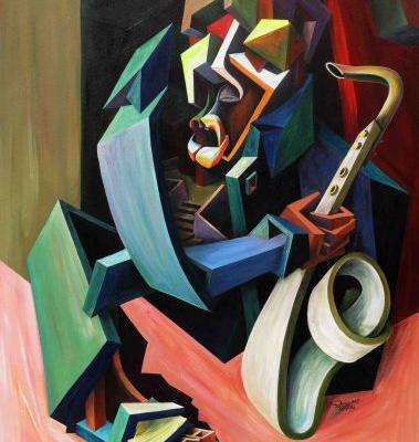 Architecture and Bold Geometry Fragment Cubist Portraits by Patrick Oberhi Akpojotor