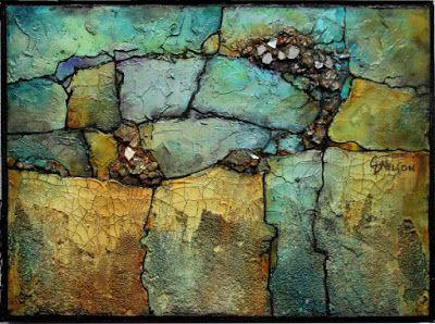 """Mixed Media Geologic Abstract Painting, Contemporary Art """"Crystal Find"""" by Carol Nelson Fine Art"""