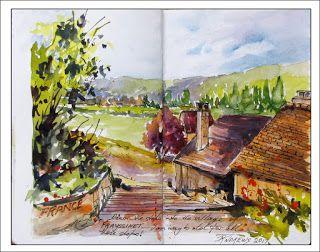 France Journal Entry..Down the Stairs into the Village of Frayssinet..Watercolor..Texas Artist..Rae Andrews