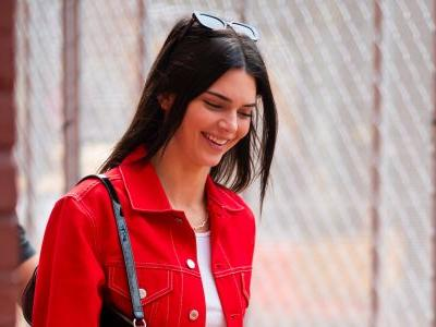 Kendall Jenner is All Smiles in Red-on-Red Denim Look in NYC