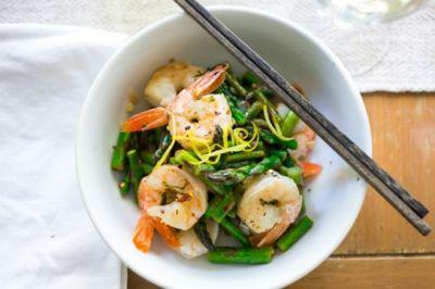 National Pinot Grigio Day: Quick Lemon Basil Shrimp and Asparagus