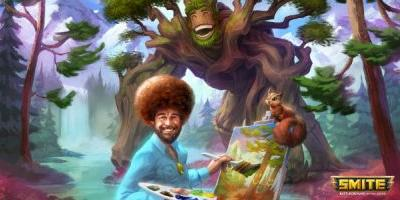 God of painting Bob Ross is coming to Smite