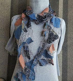 """Scarf, Wearable Art Artful Apparel, """"SHARDS PROMINENCE SCARF-EARTHLY BEAUTY"""" by Colorado Artist and Designer Gerri Calpin"""