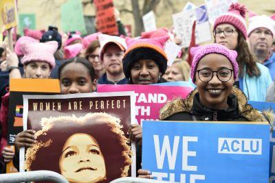 Women band together for what could be the largest political demonstration the US capital has ever seen