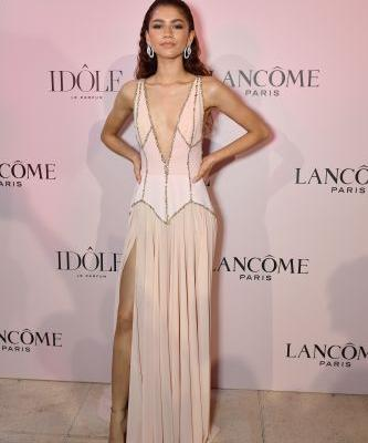 Zendaya Stuns in a Baby Pink Gown With a Plunging Neckline at an Event in Paris - See Photos!