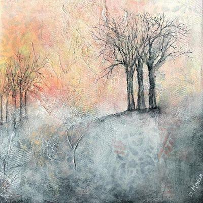 """Winter Day"", Original Mixed Media Painting by Colorado Artist, Donna L. Martin"