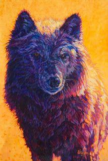 """Colorful Contemporary Wildlife Animal Art,Wolf Painting """"Henri"""" by Contemporary Animal Artist Patricia A. Griffin"""