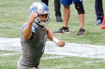 Lions win as time expires, Stafford hitting Hockenson, in 23-22 victory over Falcons