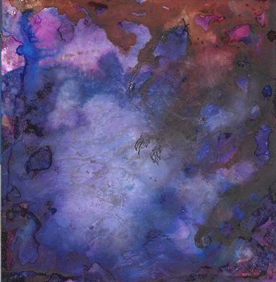 """Original Contemporary Abstract Mixed Media, Alcohol Ink Painting """"BLUE DRAGON"""" by Contemporary New Orleans Artist Lou Jordan"""