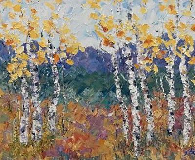 """Aspen Tree Painting, Colorado Landscape Painting,Palette knife Painting """"Beckoning of Spring"""" by Colorado Impressionist Judith Babcock"""