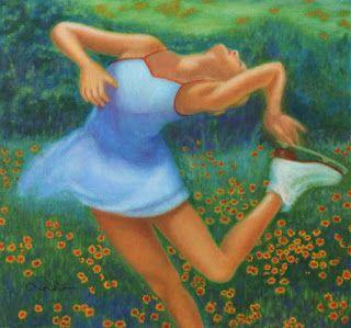 "Contemporary Colorful Figure and Landscape Painting: Female Figure Skating ""Ecstasy"" by Houston Artist Vivian T-N Ho"