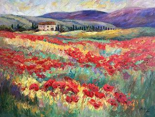"New ""Blanket of Crimson"" Tuscany Painting by Contemporary Impressionist Niki Gulley"