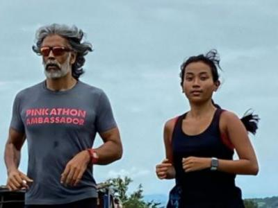 Milind Soman and Ankita Konwar run in the hills during the rain: It is extra special