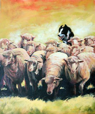 "Western Art, Border Collie, Ranch, Fine Art Painting ""Move!"" by Colorado Artist Nancee Jean Busse, Painter of the American West"