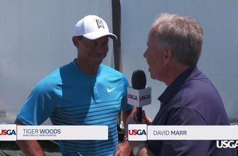 Tiger Woods Chats Before Teeing it Up in His 20th U.S. Open