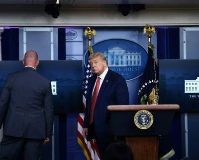 President Trump escorted from White House briefing due to officer-involved shooting nearby