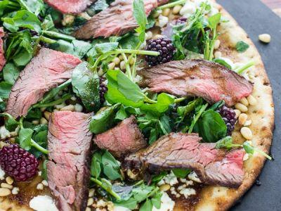 Grilled Steak and Watercress Flatbread with Blackberries