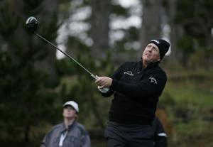 Wild finish for Mickelson puts him in 4-way tie at Pebble
