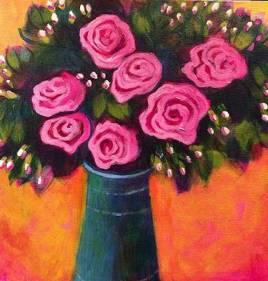 """Contemporary Bold Expressive Abstract Painting,Still Life, Flower Art Painting """"Fall Roses"""" by Santa Fe Artist Annie O'Brien Gonzales"""