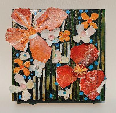 """SUMMER SALE, Floral Paper Sculpture """"PAPER FLOWERS AND STRIPES"""" by Contemporary Expressionist Pamela Fowler Lordi"""