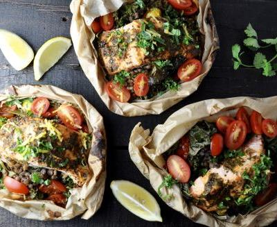 Salmon And Lentils En Papillote