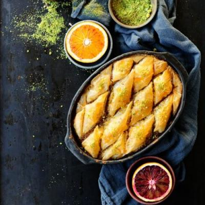 Orange drenched chocolate baklava
