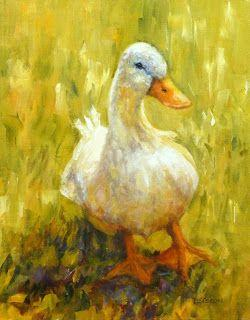 Sunny Side Duck Oil Painting Farm Animal Art Pet Portrait