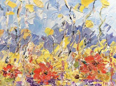 """Impressionist Floral Landscape Painting, Palette Knife Painting """"Mountain Poppies"""" by Colorado Impressionist Judith Babcock"""