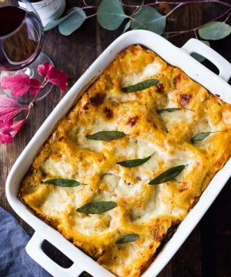 Mushroom and Butternut Lasagna with Beaujolais Wine