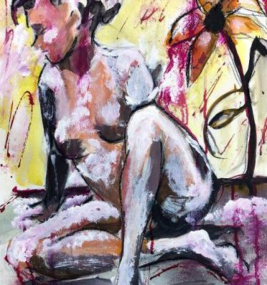 Figure With Flower, Mixed Media painting by Arizona Artist, Sharon Sieben