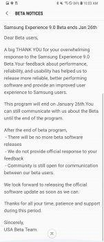 Samsung's Oreo beta for the Galaxy S8 and S8+ is officially ending on Jan 26th
