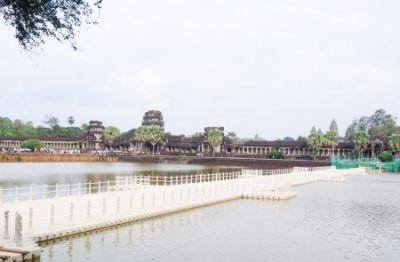 Floating bridge to Angkor Wat is accessible to foreign tourists