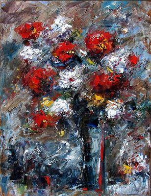 """Floral Still Life Painting Art Colorful Flowers, Roses """"Red,White and Blue"""" by Texas Artist Debra Hurd"""