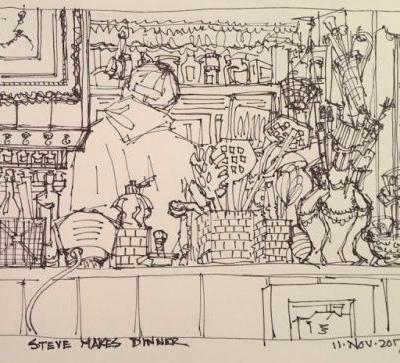 """Steve Makes Dinner"" pen & ink 6 x 9 Dailydrawing urbansk"