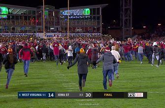 Iowa State fans rush the field after knocking off No. 6 West Virginia