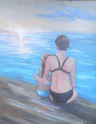 """Figurative Painting, Daily Painting, Small Oil Painting, 14x18"""" Figurative Oil Painting """"Just another Sunset"""", SOLD"""