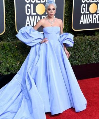 Lady Gaga Matched Her Hair to Her Ice Blue 2019 Golden Globes Dress