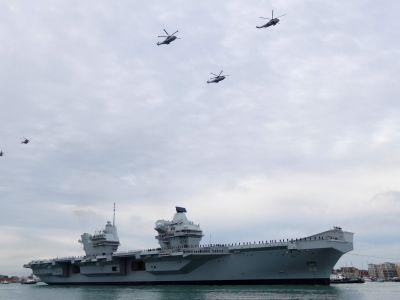 PHOTOS: Britain's new £3 billion aircraft carrier arrives at her home port for the first time