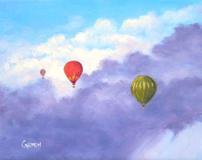 Hot Air Balloons, 8x10 Original Oil Painting, Skyscape on Canvas