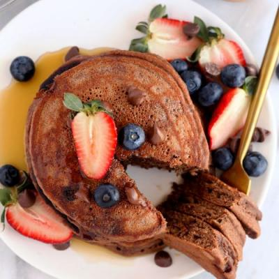Healthy Chocolate Chocolate Chip Pancakes