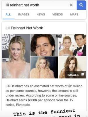 Lili Reinhart Fact-Checked What Google Said About Her Net Worth