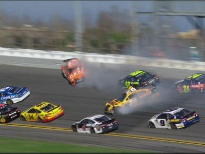 The Daytona 500 got off to a wild start when a crash caused by drivers trying to win the first stage knocked out Jimmie Johnson