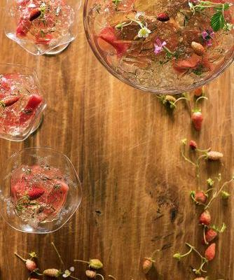 Sauvignon blanc jelly with lemon verbena & baked rhubarb